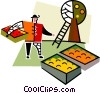 Vector Clip Art image  of a fruit farmer