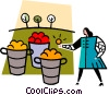 Vector Clipart picture  of a woman with fruit baskets