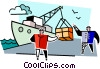 Vector Clip Art image  of a men unloading a ship