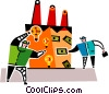 Vector Clipart graphic  of a people investing in factories