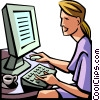 woman working at her computer Vector Clip Art image