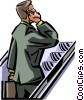 man talking on his cell phone on escalator Vector Clipart illustration