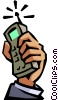Vector Clipart illustration  of a hand holding a cellular phone