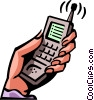 hand holding a cellular phone Vector Clip Art graphic
