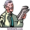 talking on cell phone with newspaper Vector Clipart image
