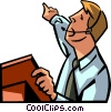 Vector Clipart picture  of a businessman talking on a