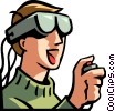 Vector Clipart graphic  of a boy wearing a virtual reality