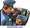 police officer checking his computer Vector Clip Art graphic