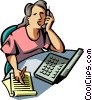Vector Clipart graphic  of a talking on a cell phone