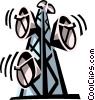 Vector Clip Art image  of a microwave towers