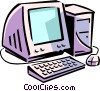 Vector Clipart graphic  of a computer system