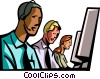 technical support staff talking on headsets Vector Clipart graphic