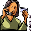 woman giving her credit card information Vector Clipart image
