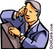 man talking on a cell phone looking at watch Vector Clip Art graphic