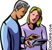 Vector Clipart image  of a man and woman working on their