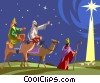 three wise men Star of Bethlehem birth of Christ Vector Clipart illustration