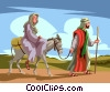 Vector Clip Art image  of a Mary and Joseph going to
