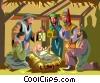 Nativity scene Mary  Joseph, wise men Jesus Vector Clip Art picture