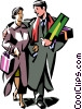 Vector Clip Art graphic  of a couple doing their Christmas