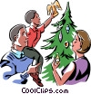 Placing the angel at the top of the Christmas tree Vector Clipart illustration