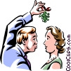 Vector Clipart graphic  of a looking for a kiss under the mistletoe