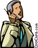 businessman talking on his cell phone Vector Clipart graphic