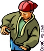 Vector Clipart illustration  of a man checking his pager