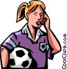 female soccer player talking on her cell phone Vector Clip Art image