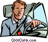 man driving a car talking on a headset Vector Clip Art graphic