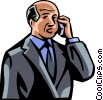 Vector Clip Art graphic  of a older man talking on his cell
