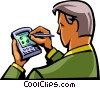 Vector Clipart image  of a Businessman working with his