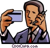 Vector Clipart picture  of a credit card information on cell phone