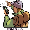 hiker looking at his GPS for directions Vector Clipart image