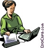 Vector Clipart graphic  of a woman printing document from