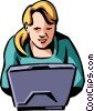 Vector Clip Art image  of a woman working on a laptop