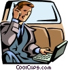 Vector Clipart picture  of a businessman sitting in a car