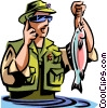 Man fishing reports his success via cell phone Vector Clipart image