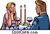 romantic dinner interrupted by cellular phone call Vector Clipart graphic