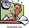 businessman waiting for 5:00pm to come Vector Clipart picture