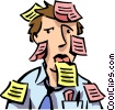 Vector Clip Art image  of a man with post-it notes all
