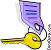Vector Clip Art picture  of a key on a chain