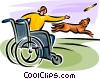 man in a wheelchair throwing a Frisbee Vector Clip Art image