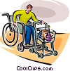 Vector Clip Art picture  of a man in a wheelchair