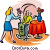 Vector Clipart image  of a bringing flowers to elderly