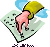 Vector Clipart graphic  of a person reading Braille