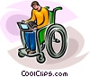 person in wheelchair working on computer Vector Clip Art picture