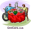 Vector Clip Art graphic  of a proposing a toast over dinner