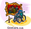 person in a wheelchair visiting the art gallery Vector Clipart picture