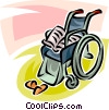 wheelchair, newspaper and slippers Vector Clipart graphic