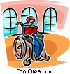 woman in a wheelchair reading a book Vector Clipart illustration
